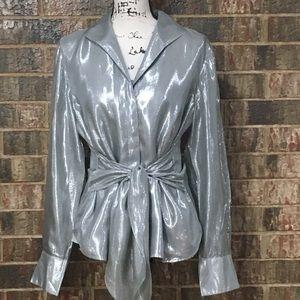 JONES NEW YORK Stunning Silk Metallic Blouse